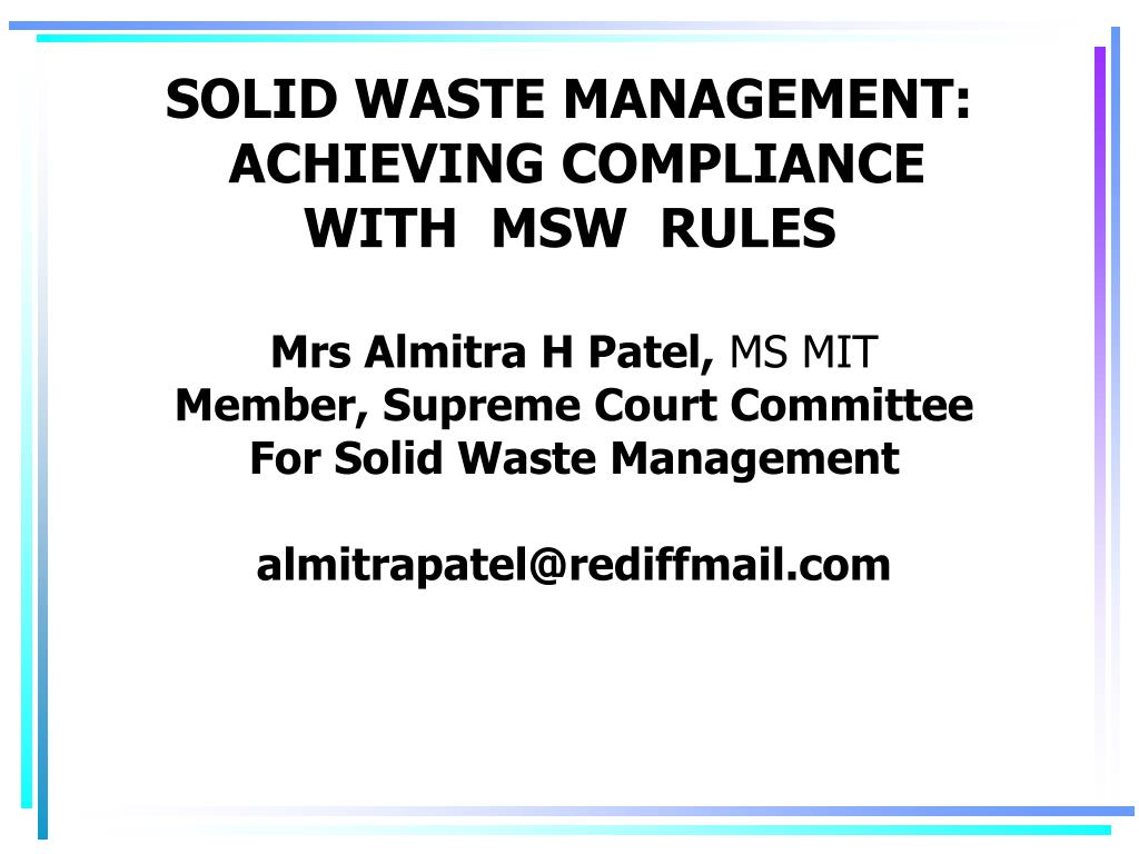 solid waste management achieving compliance with msw rules l.