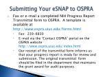 submitting your esnap to ospra37