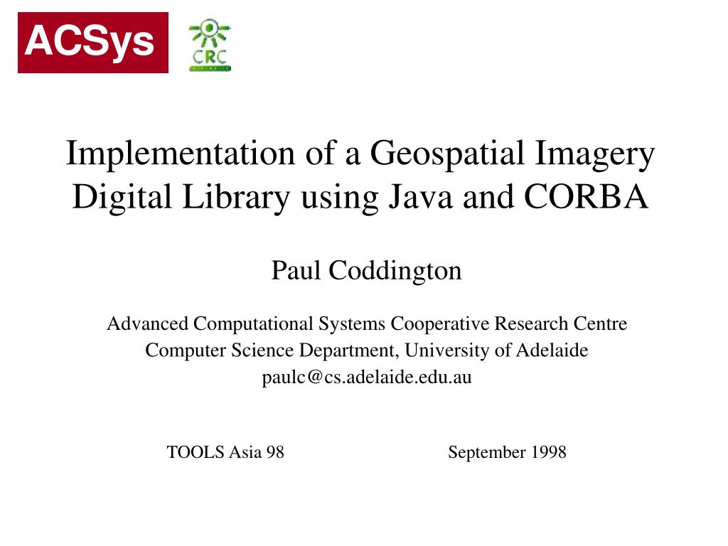 implementation of a geospatial imagery digital library using java and corba l.