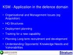 ksm application in the defence domain