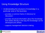 using knowledge structure