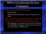nfpa classification system continued