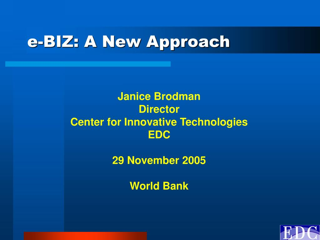 e biz a new approach l.