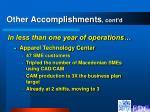other accomplishments cont d