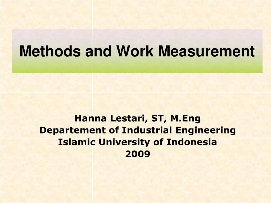 methods and work measurement l.
