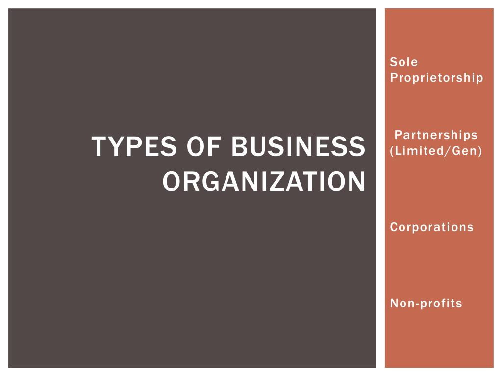 types of business organization l.