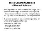 three general outcomes of natural selection