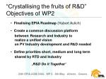 crystallising the fruits of r d objectives of wp2