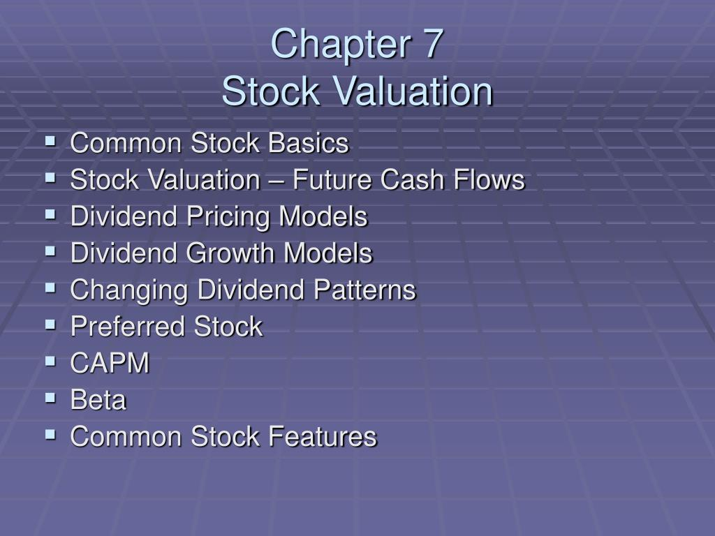 chapter 7 stock valuation l.