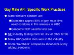 gay male afi specific work practices