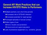 general afi work practices that can increase hiv std risks to performers