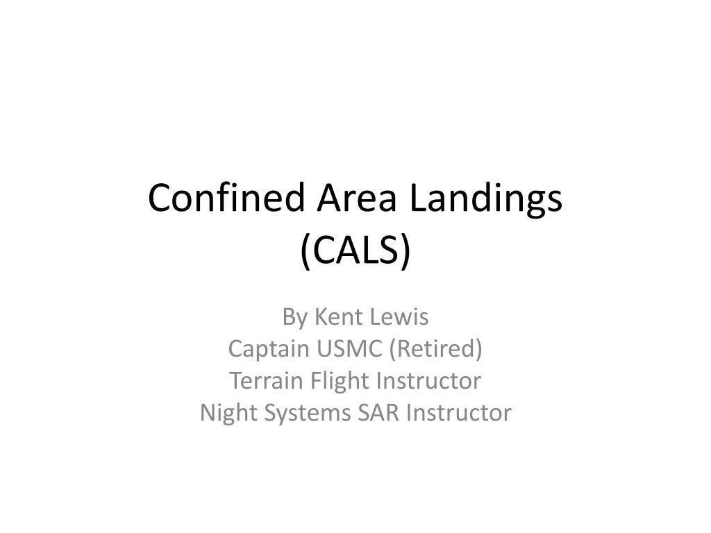 confined area landings cals l.