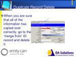 duplicate record delete