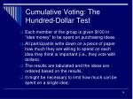 cumulative voting the hundred dollar test