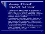 meanings of critical important and useful