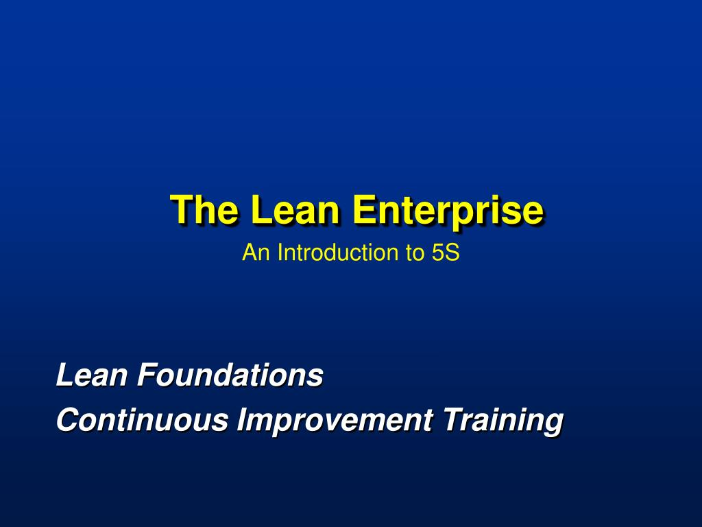 the lean enterprise l.