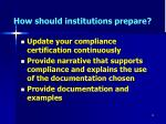 how should institutions prepare