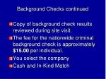 background checks continued