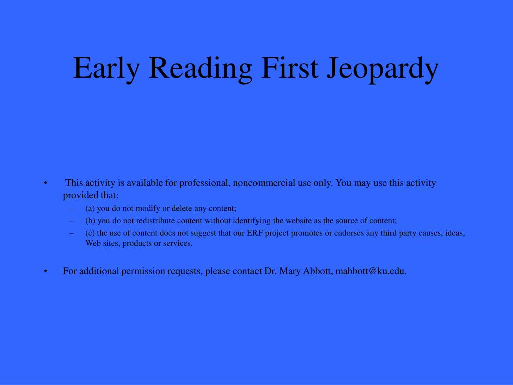 early reading first jeopardy l.