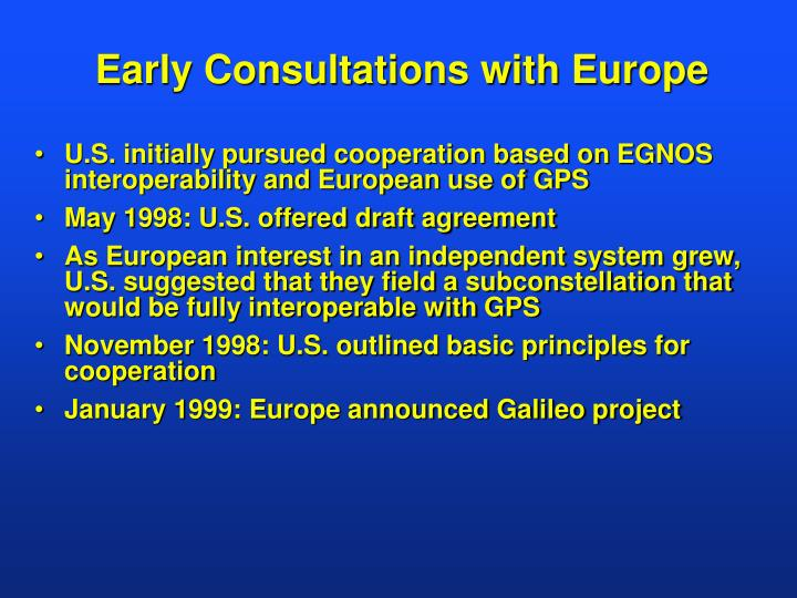 Early consultations with europe