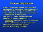 status of negotiations