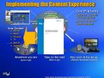 implementing the content experience