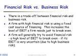 financial risk vs business risk