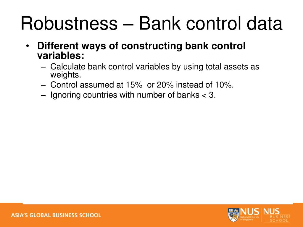 Robustness – Bank control data