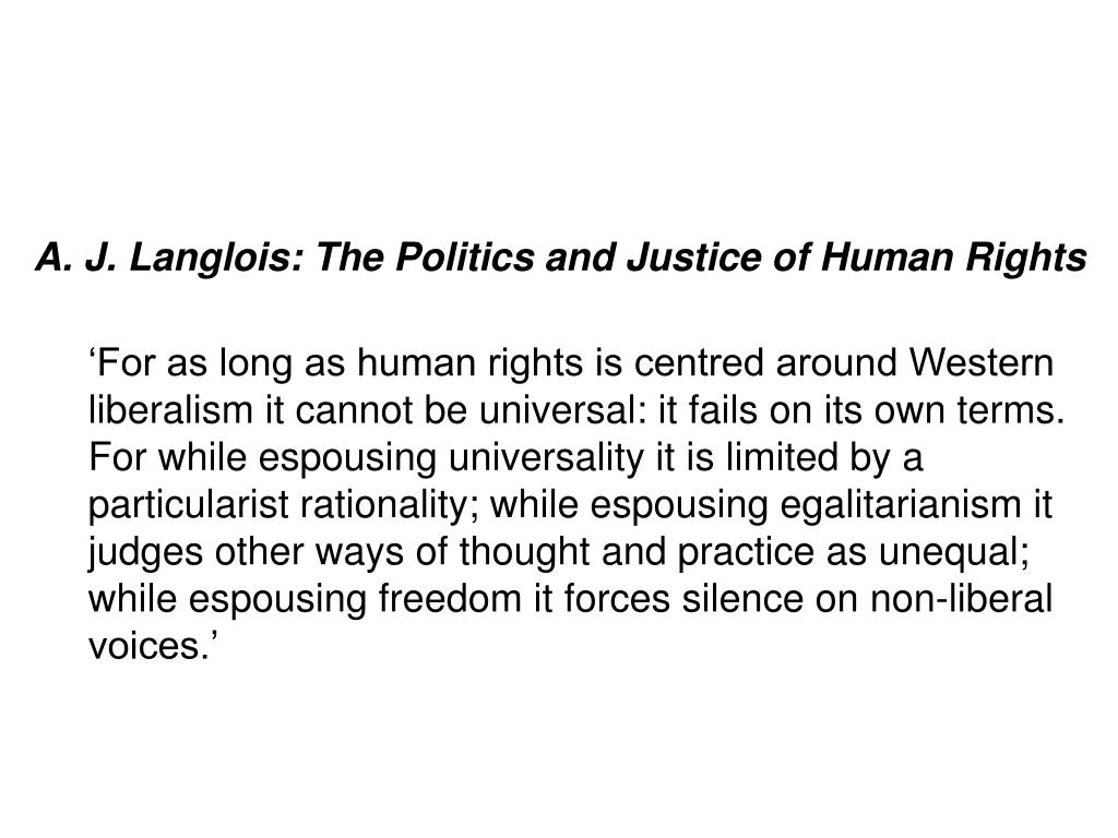 A. J. Langlois: The Politics and Justice of Human Rights