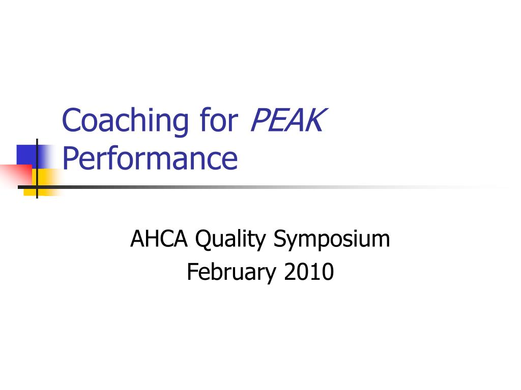 coaching for peak performance l.
