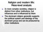 religion and modern life meso level analysis