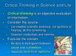 critical thinking in science and life