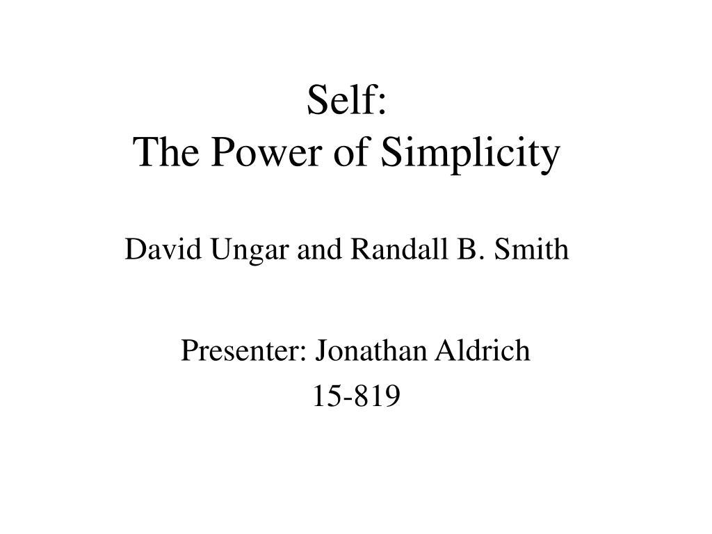 self the power of simplicity david ungar and randall b smith l.