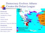 democracy evolves athens creates the delian league