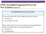 ntip streamlined appraisal process for new teachers rating scale