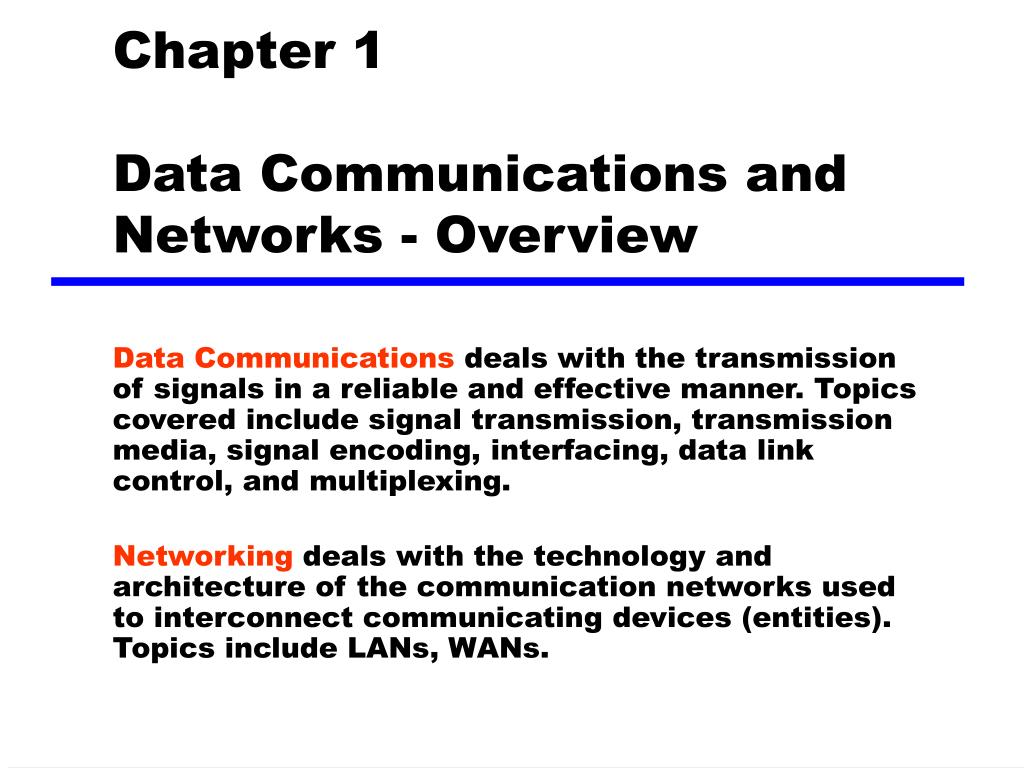 chapter 1 data communications and networks overview l.