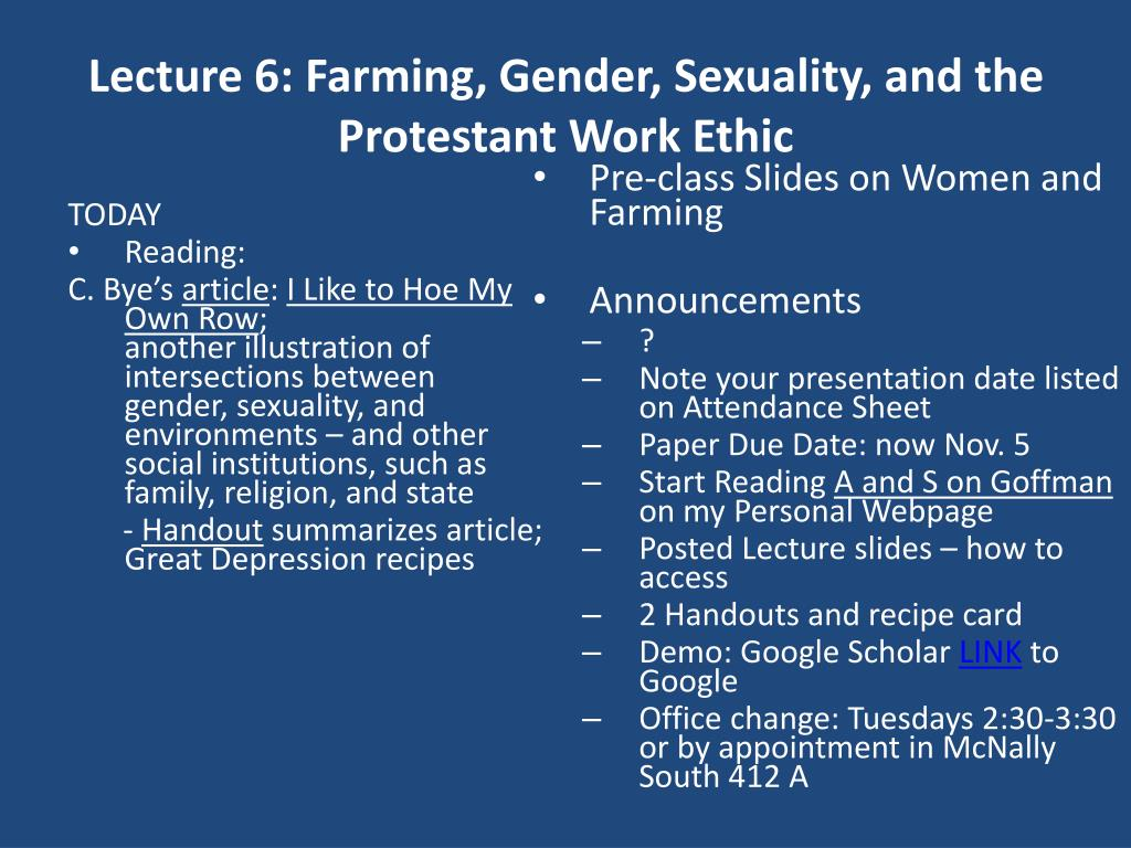 lecture 6 farming gender sexuality and the protestant work ethic l.