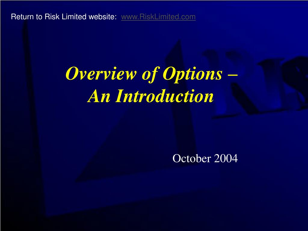 overview of options an introduction l.