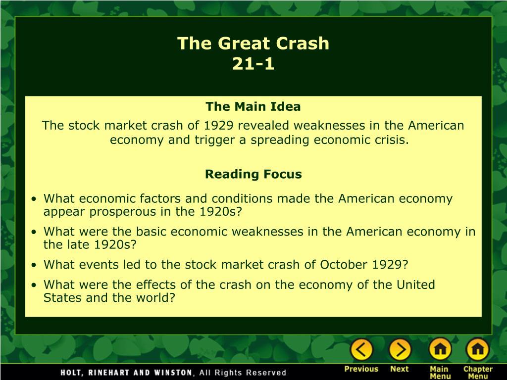 the great crash 21 1 l.