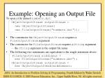 example opening an output file
