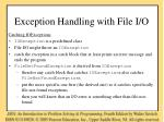 exception handling with file i o