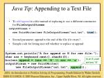 java tip appending to a text file
