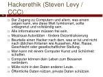 hackerethik steven levy ccc