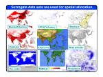surrogate data sets are used for spatial allocation