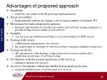 advantages of proposed approach