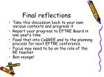 final reflections