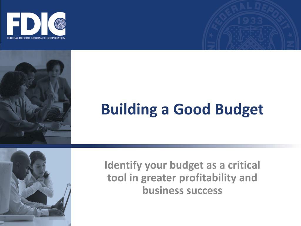 building a good budget l.