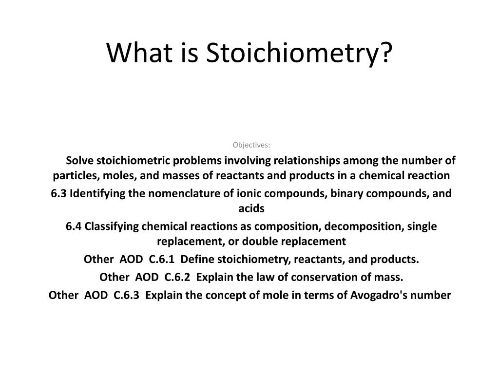 what is stoichiometry l.