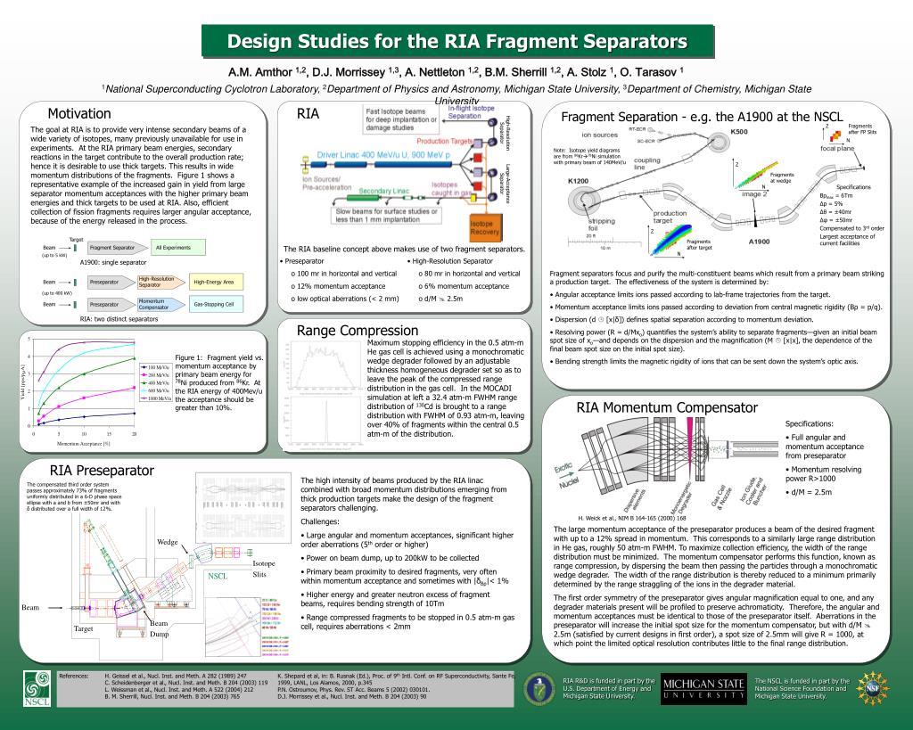 design studies for the ria fragment separators l.