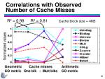 correlations with observed number of cache misses